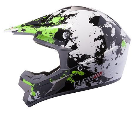 LS2 MX433 BLAST  White-Black-Green Ls2 Helmets Green